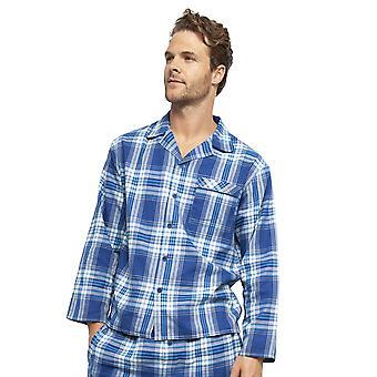 Cyberjammies 6426 Männer's Buzz Blue Check Baumwolle gewebt Pyjama Top