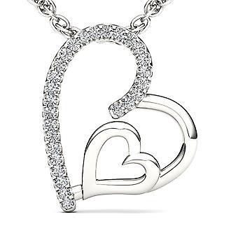 Igi مصدقة الصلبة 10k الذهب الأبيض 0.08 ct الماس قلادة القلب المزدوج قلادة