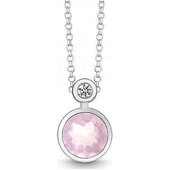 QUINN - Necklace - Silver - Diamond - Pink Quartz - Wess. (H) - 27393930