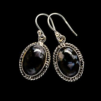 "Gabbro Stone Earrings 1 3/8"" (925 Sterling Silver)  - Handmade Boho Vintage Jewelry EARR393705"
