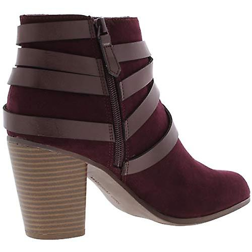 Material Girl Womens Mini Faux Leather Stacked Heel Booties