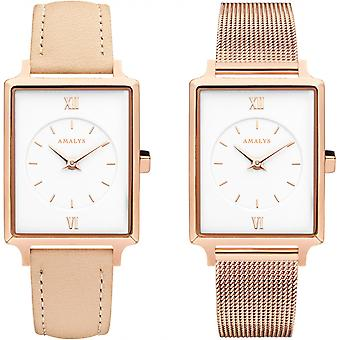 Montre Amalys SET LOUISE - Montre Set Acier Rose Femme