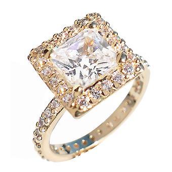 Ah! Gioielli Chiaro Chiaro Principessa Taglio Simulato Diamante Eternity Anello 2.2ct Prong Impostazione AAA Grado C