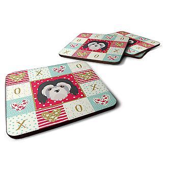 Set of 4 Lowchen Little Lion Dog Love Foam Coasters Set of 4