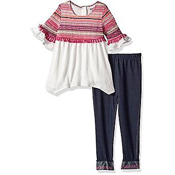Little Lass Girls' Little 2 Pc Legging Set Crochet Overlay, Ivory, 6X