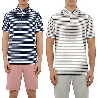 Wolsey Mens Stripe Button Down Lightweight Stretch Golf Polo Shirt