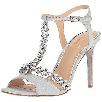 Jewel Badgley Mischka Women's MAXI Sandal, silver glitter, M110 M US