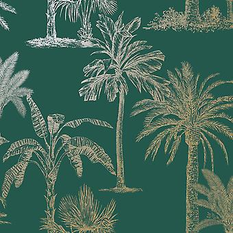 Árvores tropicais brilhantes Papel de Parede Teal / Ouro Holden 12820