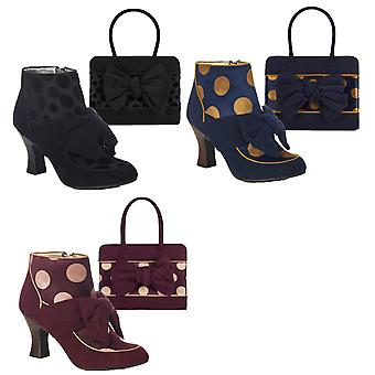 Ruby Shoo Women's Seren Mid Heel Bow Boots & Matching Dakota Bag