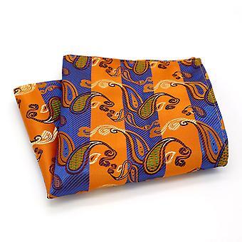 蓝色和橙色条纹佩斯利设计师口袋广场