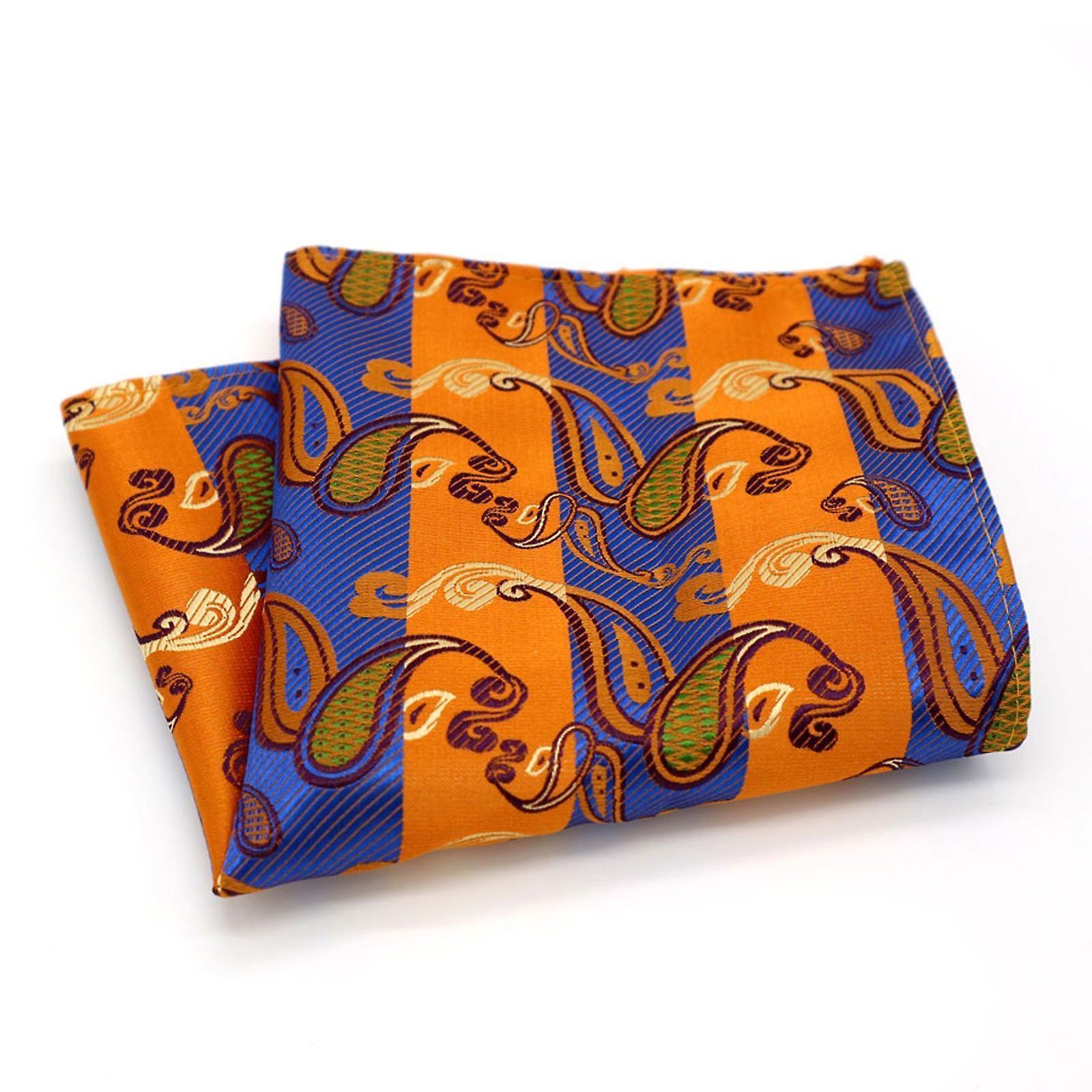 Blue & orange stripe paisley designer pocket square