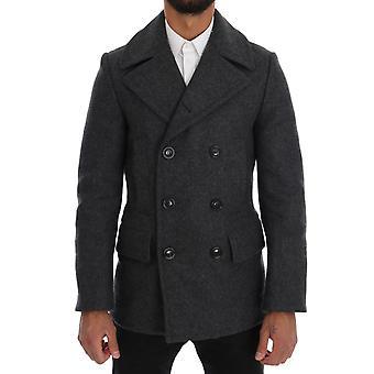 Dolce & Gabbana Gray Wool Stretch Trench Coat