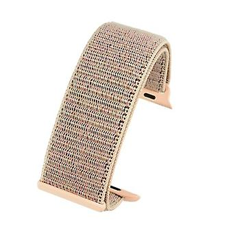 Watch strap made by w&cp to fit apple iwatch watch strap light pink hook and loop wrap around fabric 38mm and 42mm