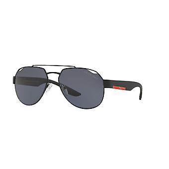 Prada Sport Linea Rossa SPS57U DG05Z1 Black Rubber/Polarised Grey Sunglasses