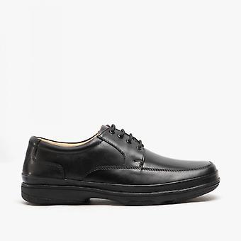 Roamers Percy Herren Wide Fit Leder Smart Schuhe Schwarz