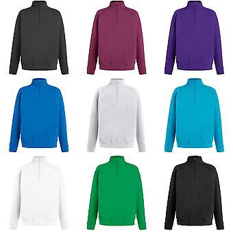 Fruit de la Loom Mens Lightweight Zip Neck Sweatshirt