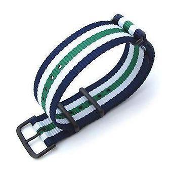 Strapcode n.a.t.o watch strap miltat 20mm g10 military watch strap ballistic nylon armband, pvd - blue, white & green
