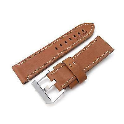 Strapcode leather watch strap 26mm miltat cashmere calf tan color watch strap, beige hand stitching