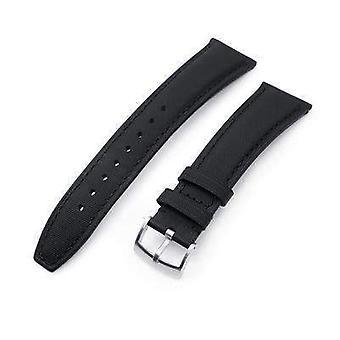 Correa de reloj de cuero Strapcode 20mm o 22mm negro kevlar acabado correa reloj, costuras negras, cepillado