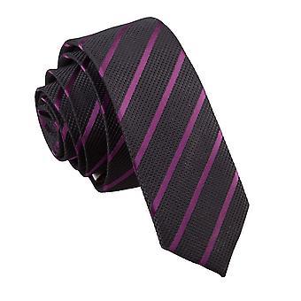 Musta ja violetti Single raita laiha solmio