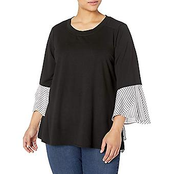 AGB Women's Plus Size 2-fer French Terry Top,, Black/White, Size 1.0