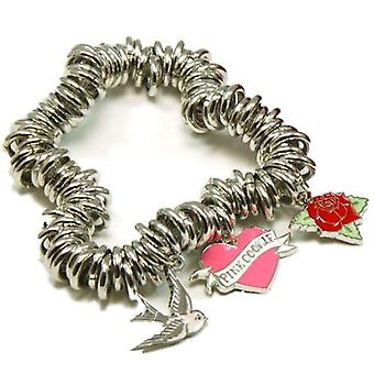 Pink Cookie Dove, Heart And Rose Charm Bracelet With Purse