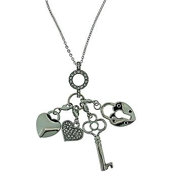"ADORN Silvertone Hearts & Key Charms Pendant Necklace 16""+2"" Extender"