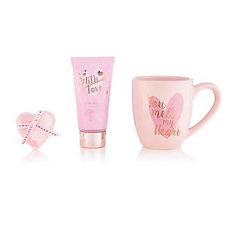 Style & Grace With Love You Melt My Heart Mug Set - 50ml Body Wash, 40g Heart Bath Fizzer and Pink Mug