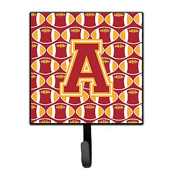 Letter A Football Cardinal and Gold Leash or Key Holder