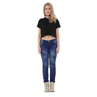 Ripped Distressed Slim Skinny Stretch Jeans with Diamante Detail