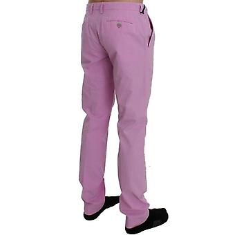 Cavalli Pink Cotton Slim Chinos Pants