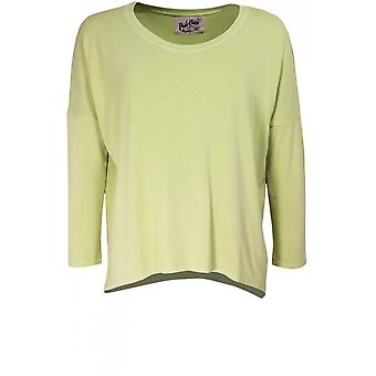 A Postcard from Brighton Karma Leaf Green Jersey Top