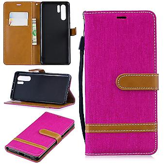 Huawei P30 Pro Édition Nouvelle enveloppe de téléphone cellulaire Poche de protection Case Couverture Boîte à cartes Étui Wallet Pink