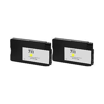 RudyTwos 2 x reemplazo para HP tinta 711 unidad amarillo Compatible con Designjet T120, T520