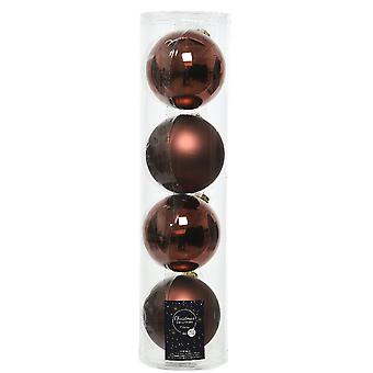 4 10cm Rosewood Brown Glass Christmas Tree Bauble Decorations