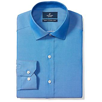 BUTTONED DOWN Men's Tailored Fit Spread-Collar Solid, French Blue, Size 15.0