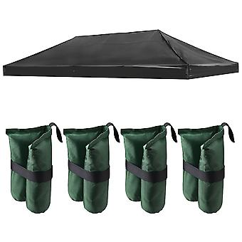 Instahibit 19x9.5Ft Outdoor Event EZ Pop Up Canopy Top Replacement Black Sunshade Tent Cover with 4x Weight Sand Bag
