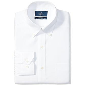 """BUTTONED DOWN Men's Tailored Fit Button-Collar Solid Non-Iron Dress Shirt (Pocket), White, 15.5"""" Neck 33"""" Sleeve"""
