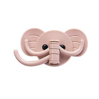 Cartoon Elephant Shape Solid Color Hooks Pink