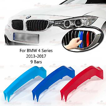 BMW 4-serie 2013-2017 9 Bars Clip In Grill M Power Kidney Stripes Cover