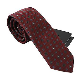 Dolce & Gabbana Red 100% Silk Blue Pattern Logo Classic Necktie -- KRA7999600