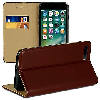 Book case with card compartment for Apple iPhone 7 Plus /8 Plus Wallet Leatherette Brown