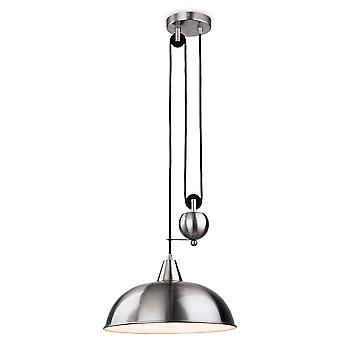 Firstlight Century - 1 Light Rise & Fall Dome Ceiling Pendant Brussed Steel, E27