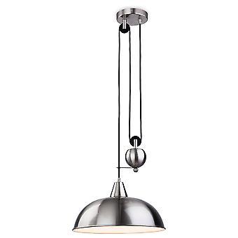1 Light Rise & Fall Dome Ceiling Pendant Brushed Steel, E27