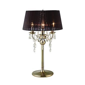Lâmpada de mesa com sombra preta 3 latão antigo leve, cristal