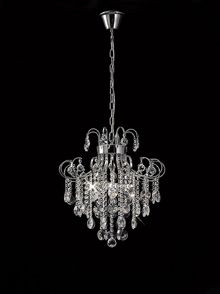 Inspired Diyas - Rosina - Ceiling Pendant 6 Light Polished Chrome, Crystal