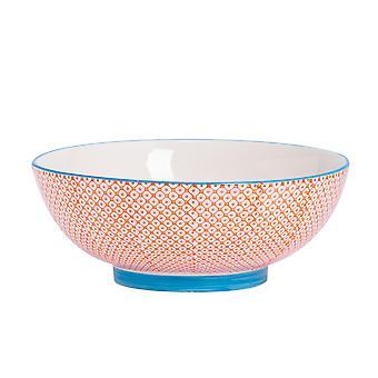 Nicola Spring Hand-Printed Fruit Bowl - Japanese Style Porcelain Pasta Salad Serving Bowls - Orange - 31.5cm