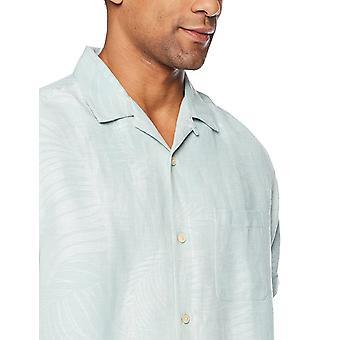 28 Palms Men's Relaxed-Fit Silk/Linho Tropical Leaves Jacquard Shirt, Aqua, X...