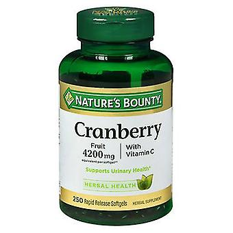 Nature's Bounty Cranberry 4200 mg With Vitamin C Herbal Supplement Softgels, 250 Softgels