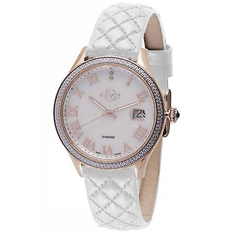 GV2 Tekijä Gevril Women's 1801 Asti Diamonds MOP Dial Rose-Gold IP Leather Watch